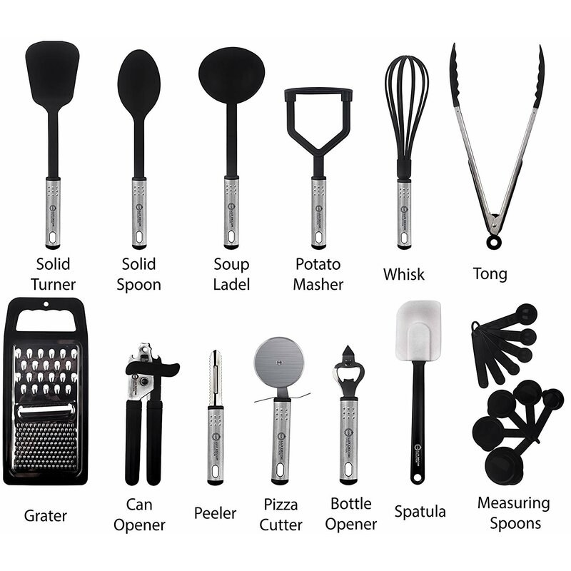 the various utensils all in silver and black