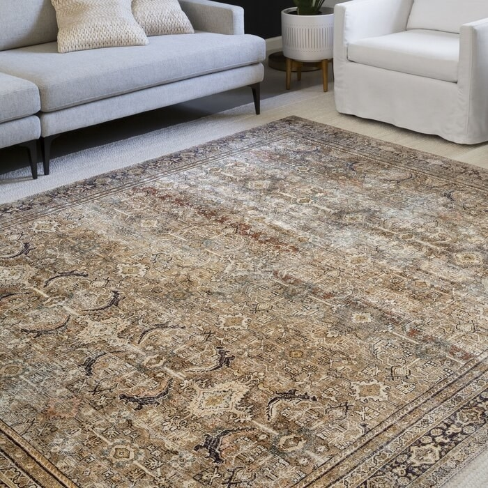 The Giacinto Oriental Olive/Charcoal Area Rug in a decorated living room
