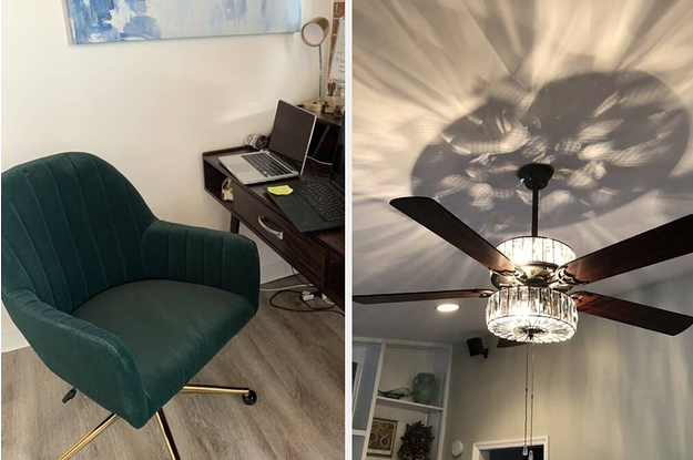 A velvet office chair / a crystal ceiling fan light