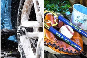 split thumbnail of cleaning brush cleaning a car tire, deodorizing sticks and a baseball glove
