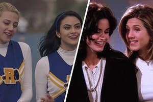 Betty and Veronica are on the left cheering with Monica and Rachel on the right whispering