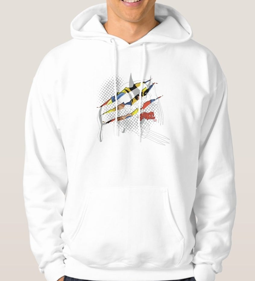 """Model wearing a white hooded sweatshirt with blue and yellow animated Wolverine slived through and the """"Snikt"""" sound effect"""