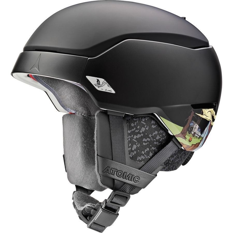 black helmet with fabric lining over the ears