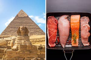 Side-by-side images of the Egyptian pyramids and raw meat in a pan