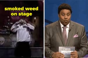 """The band Cypress Hill titled """"smoked weed on stage"""" and Kenan Thompson looking shocked"""