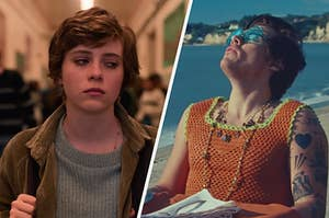 "On the left, Sophia Lillis as Sydney on ""I Am Not Okay With This,"" and on the right, Harry Styles in the ""Watermelon Sugar"" music video"