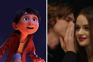 """Miguel from """"Coco"""" is on the left looking surprised with a couple telling secrets on the right"""