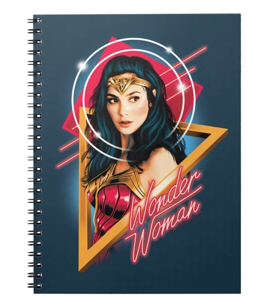 A notebook with Gal Gadot Wonder Woman in 1980s style