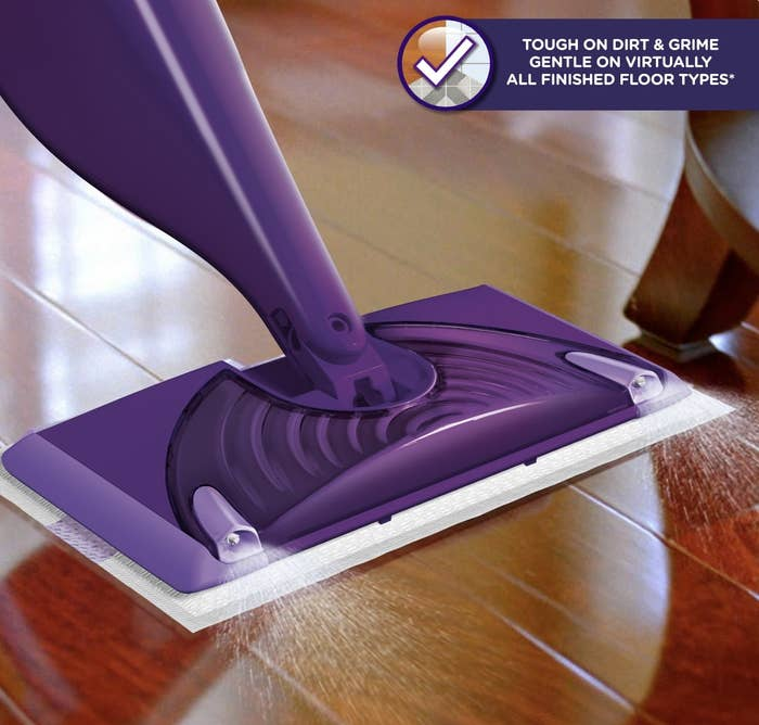 The Swiffer Wet Jet used on hardwood flooring