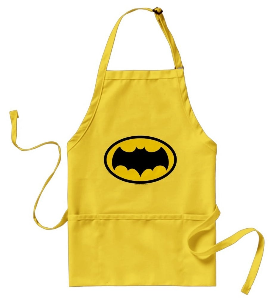 Bright yellow apron with 1966 Batman symbol