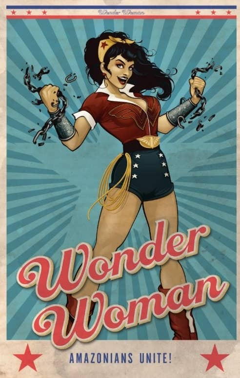 """Postcard of Wonder Woman breaking chains that says """"Amazonians Unite!"""""""