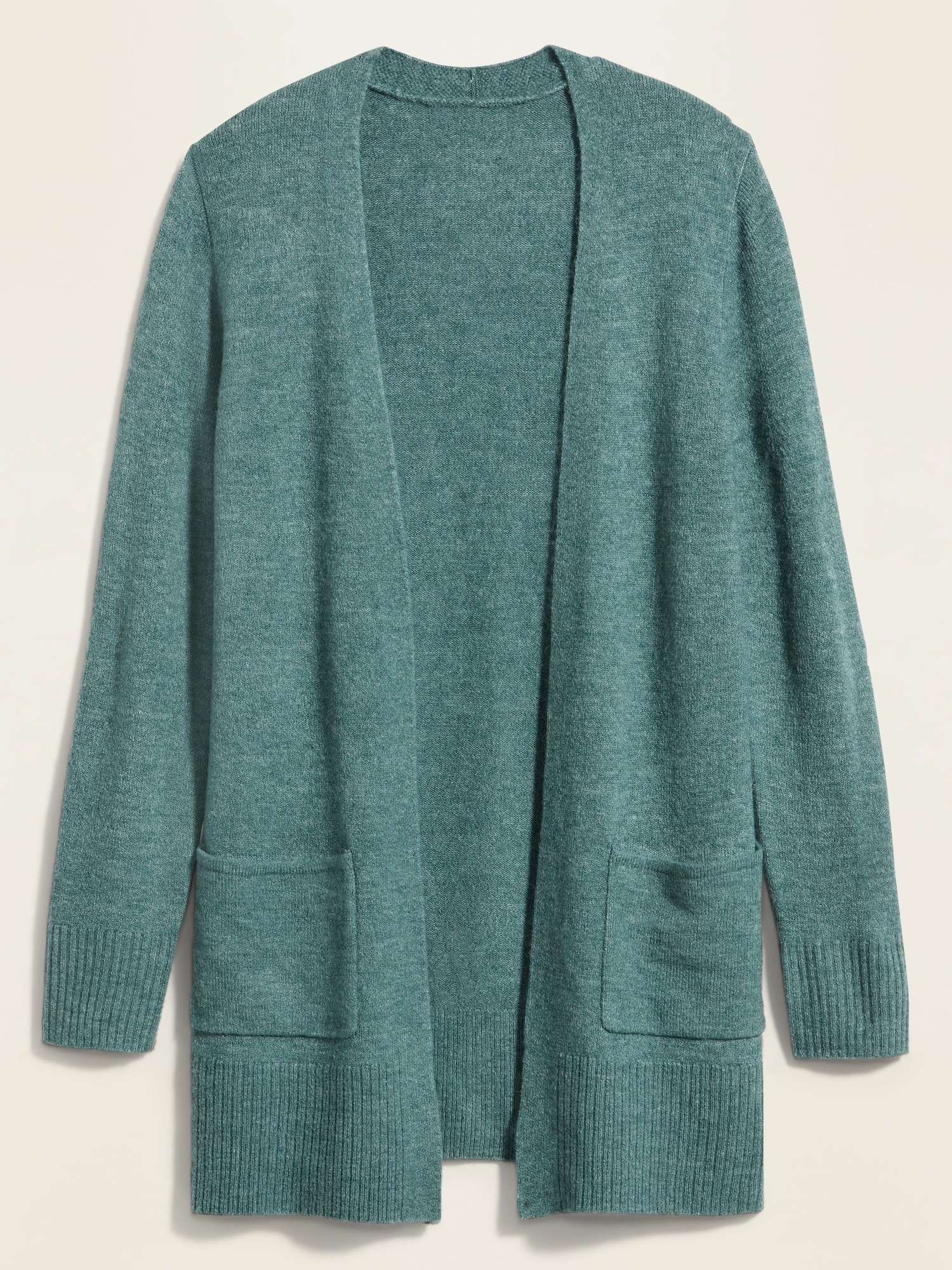 the long cardigan in a muted teal with two front pockets
