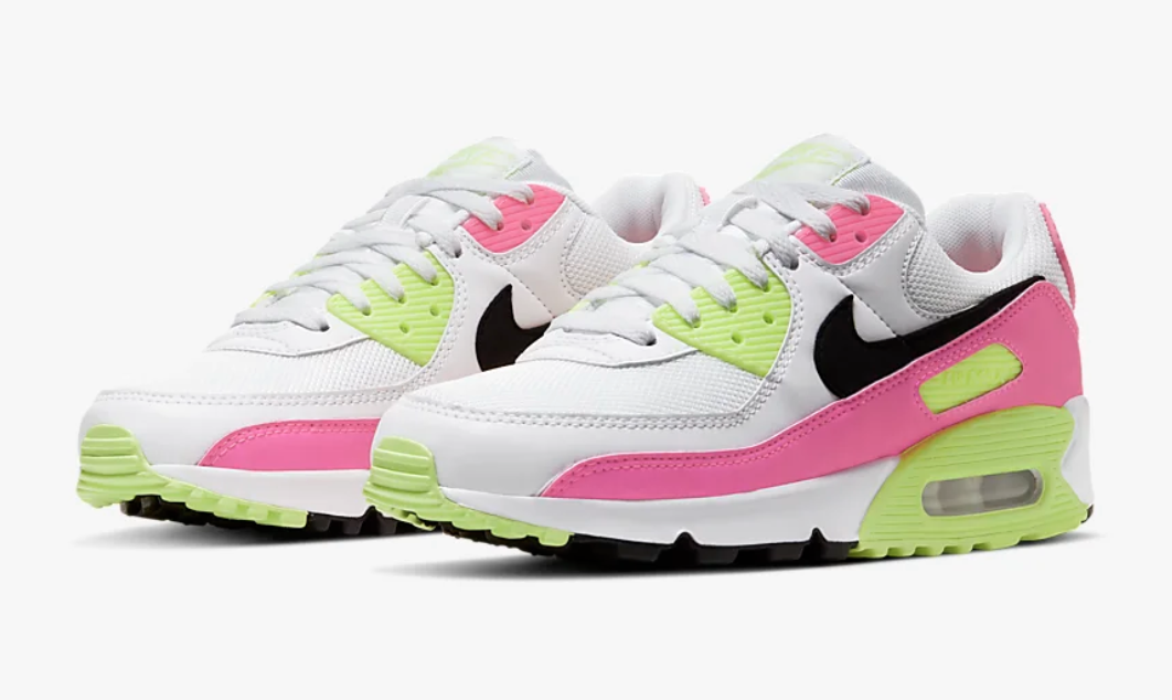 Nike Air Max 90 sneakers in white, neon green, and pink