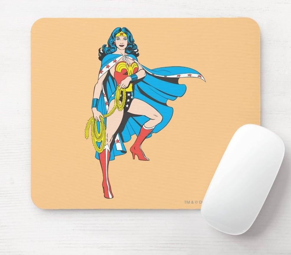 A light orange mousepad with classic Wonder Woman art