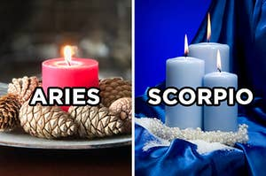 "On the left, a lit candle surrounded by pinecones labeled ""Aries,"" and on the right, three lit candles surrounded by silk sheets labeled ""Scorpio"""