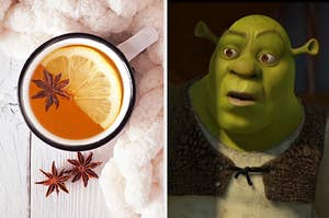 A hot cup of tea with a lemon in it on the left, and shrek on the right