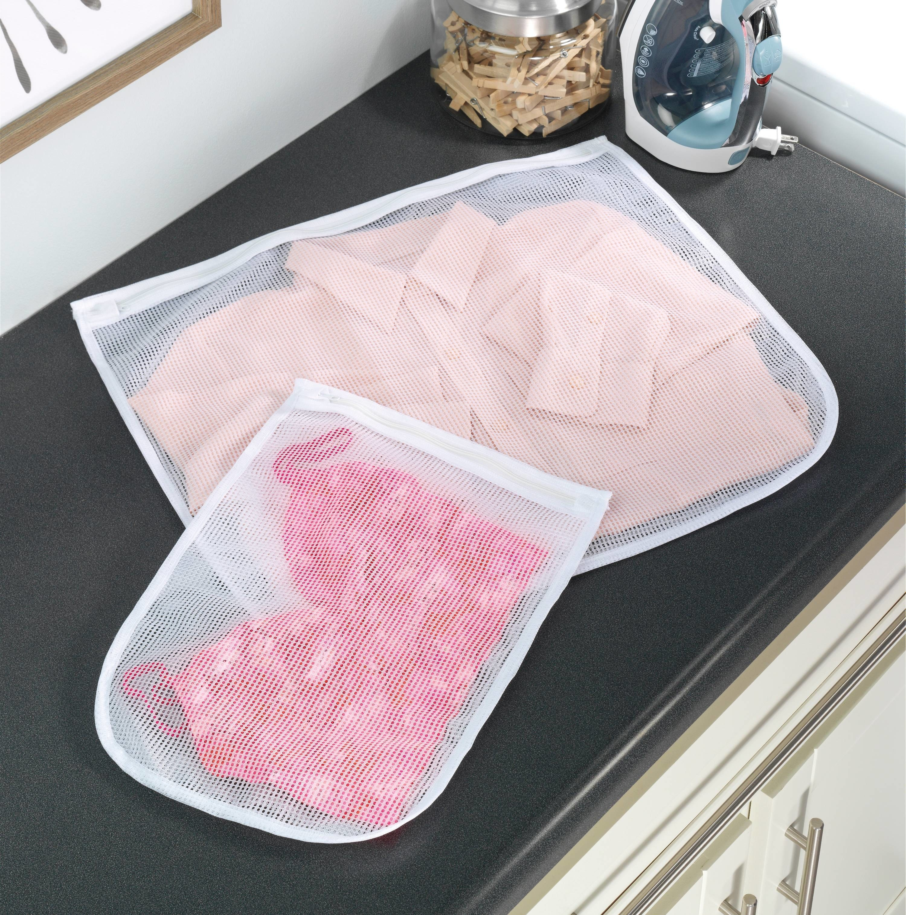 The zippered mesh bags used to wash laundry