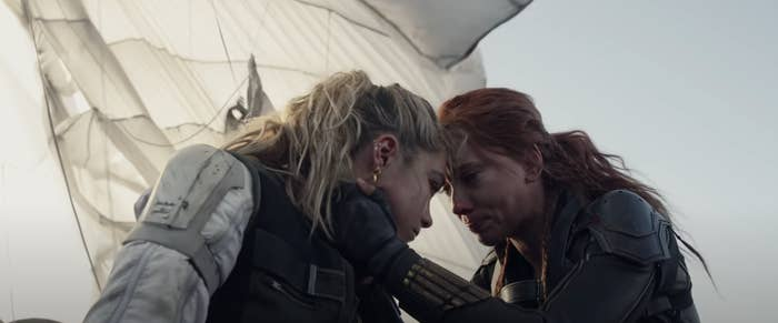 Yelena and Natasha crying and hugging