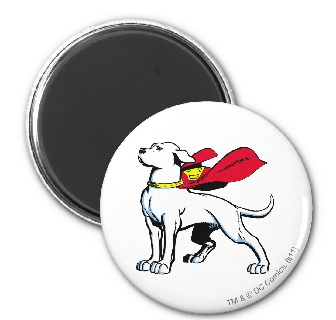A round white magnet with Krypto wearing a red cape