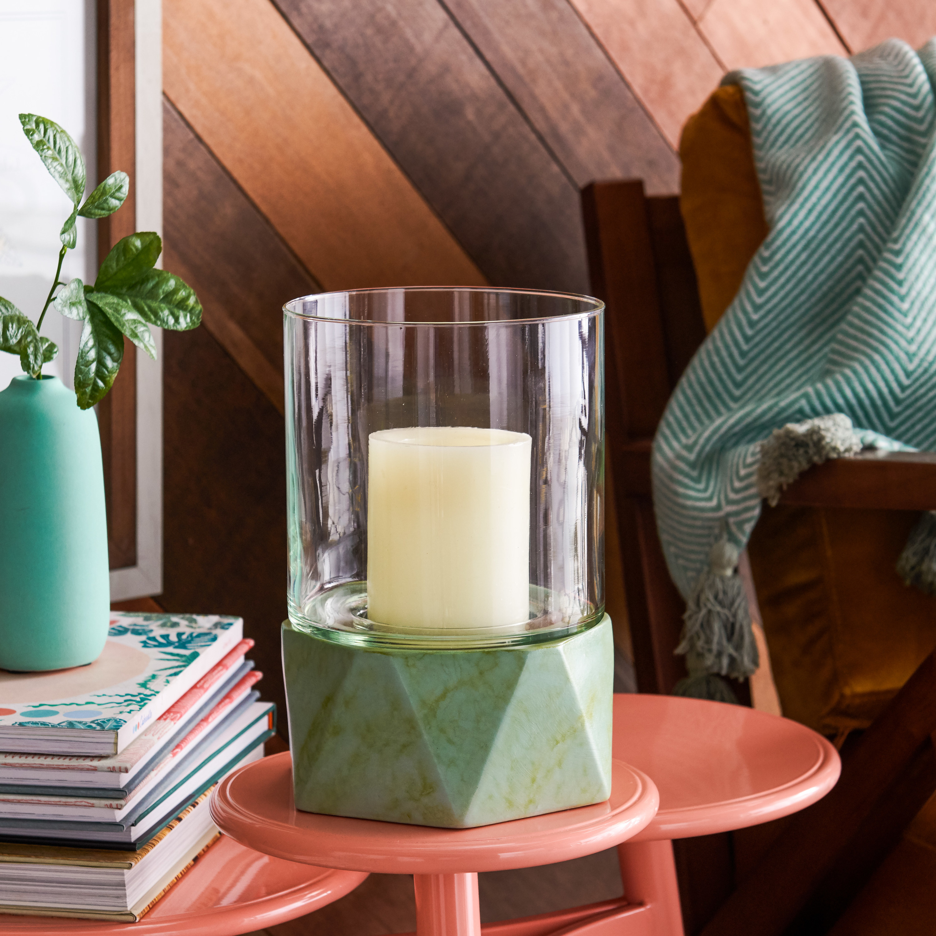 The green votive candle holder