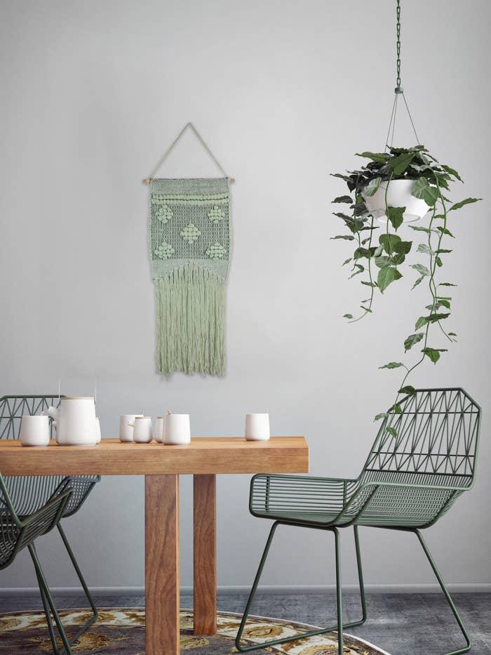 The green macrame wall hang