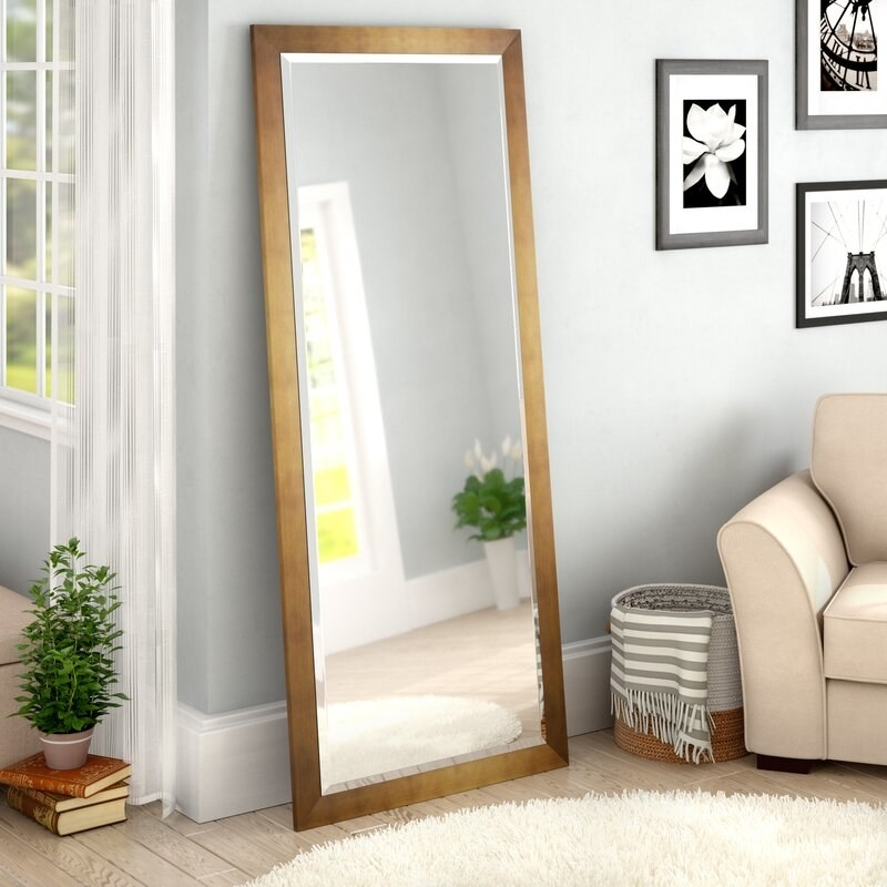 Full-length rectangle mirror with a gold frame.