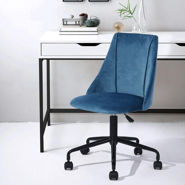 The blue Rochelle Task Chair in an office