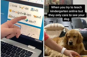A elementary school student pointing at their homework which is just a jumble of emojis and symbols, and a kindergarten teacher using her dog to help her students learn how to count