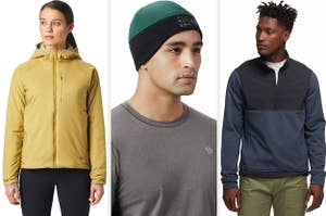 on the left a model in a yellow insulated jacket, in the middle a model in a fleece cap, on the right a model in a blue fleece jacket