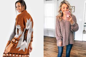 to the left: a model in a geometric cardigan, to the right: a reviewer in afuzzy taupe sweater