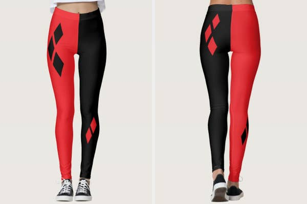 Split image of model wearing leggings with one red and one black leg with diamond logos