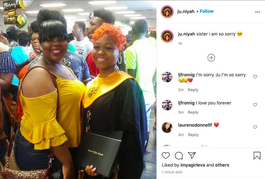 A screenshot from Instagram shows Breonna Taylor and her sister Juniyah Palmer at a graduation ceremony