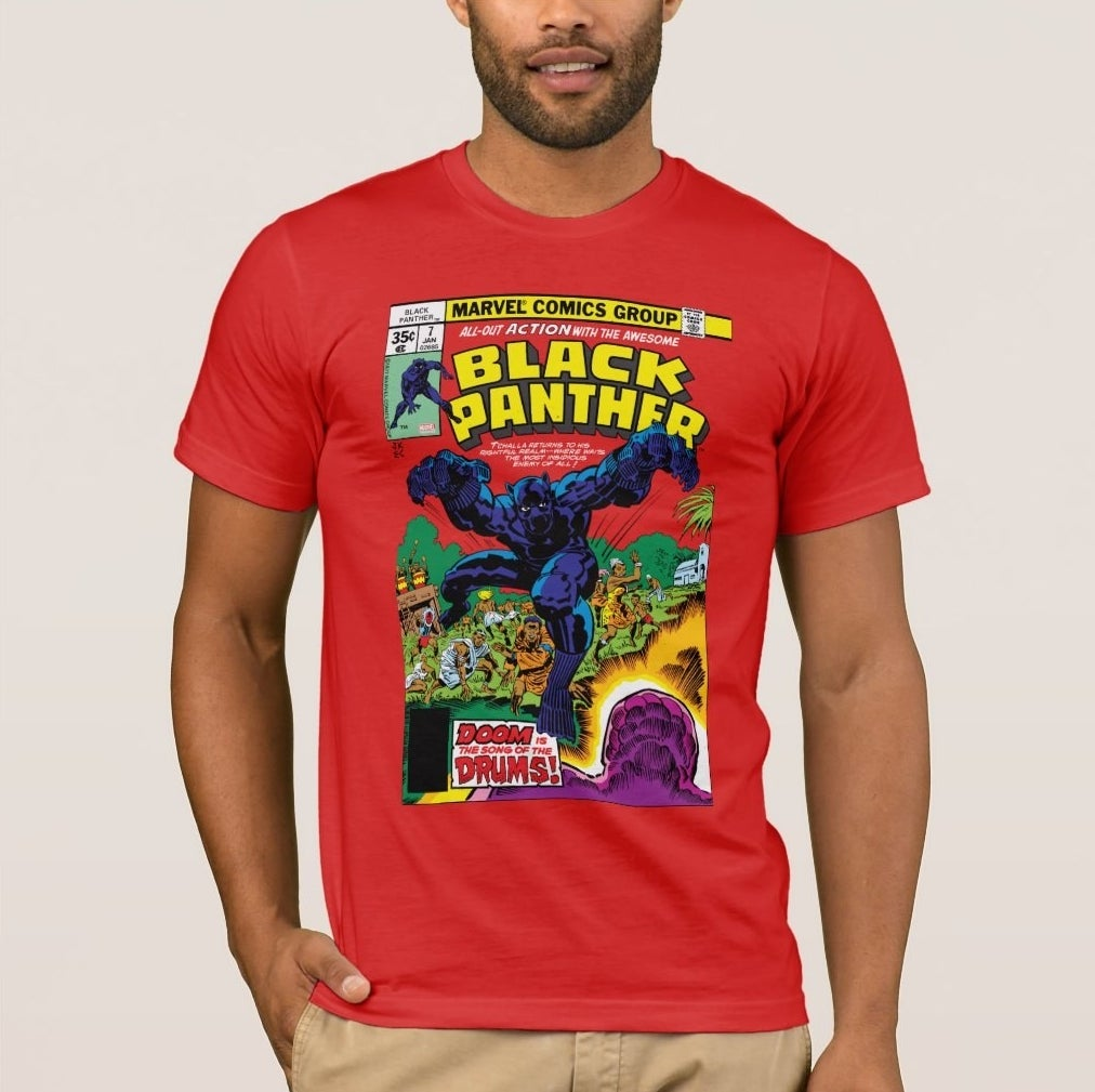 Model wearing a read T-shirt with a classic Black Panther comic book cover