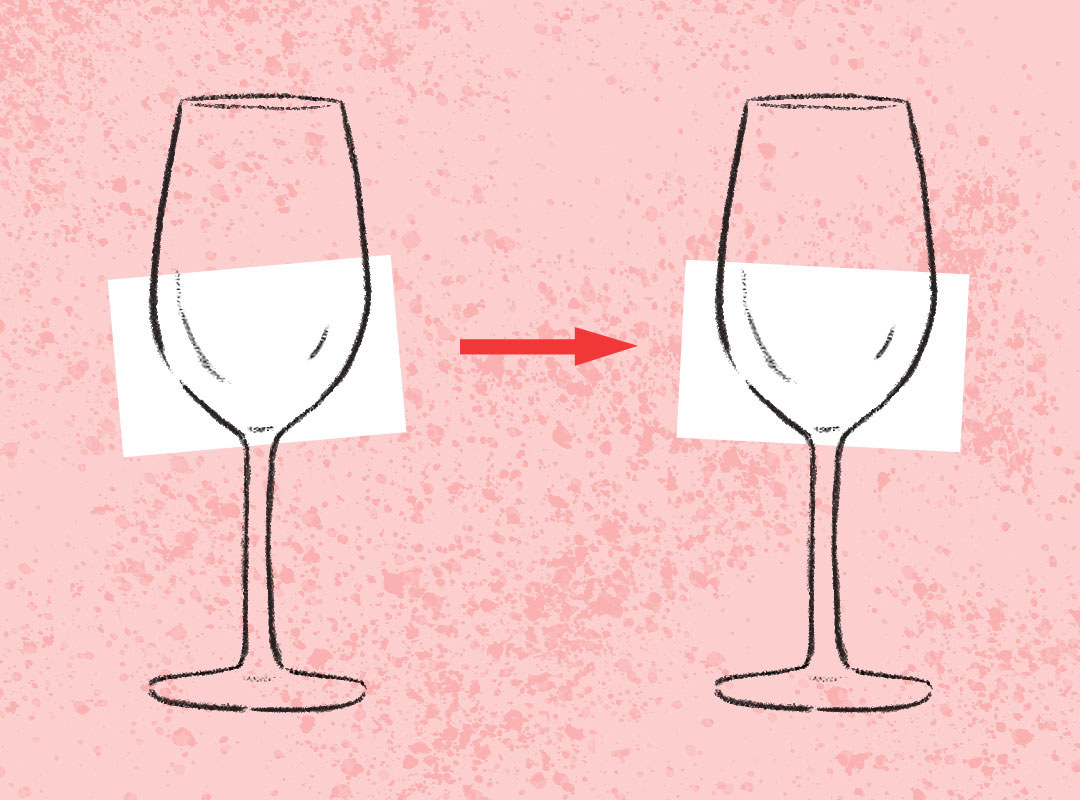 Two glasses of white wine with an arrow between them.