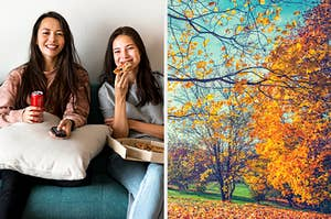 On the left, two roommates sit on the couch watching tv and eating pizza, and on the right a park in the autumn