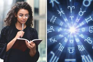On the left, someone walks down the street with a notebook in their hand and a pen tapping on their chin, and on the right, symbols for each of the zodiac signs