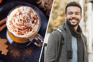 On the left, a pumpkin spice latte, and on the right, a college student wearing a coat, scarf, and backpack