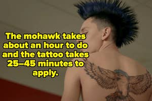 "Shirtless Hawk from Cobra Kai with the caption, ""The mohawk takes about an hour to do and the tattoo takes 25–45 minutes to apply."""