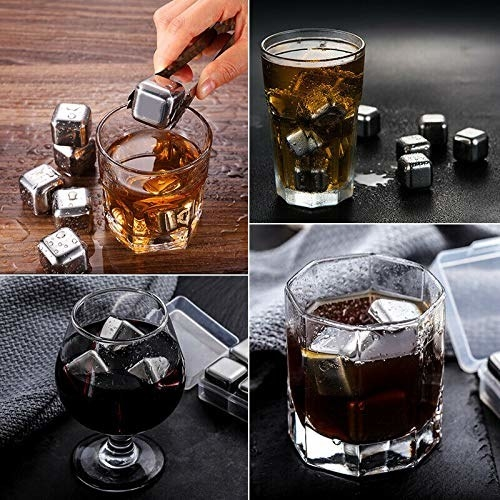 The stainless steel ice cubes being used in various beverages.