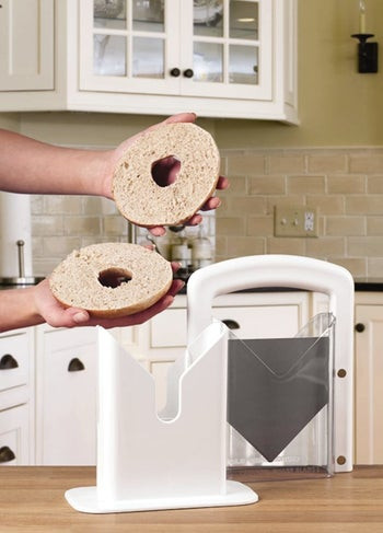 Model demonstrating a perfectly cut bagel