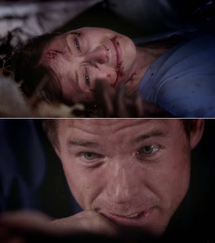 Lexie sobbing while Mark holds her hand