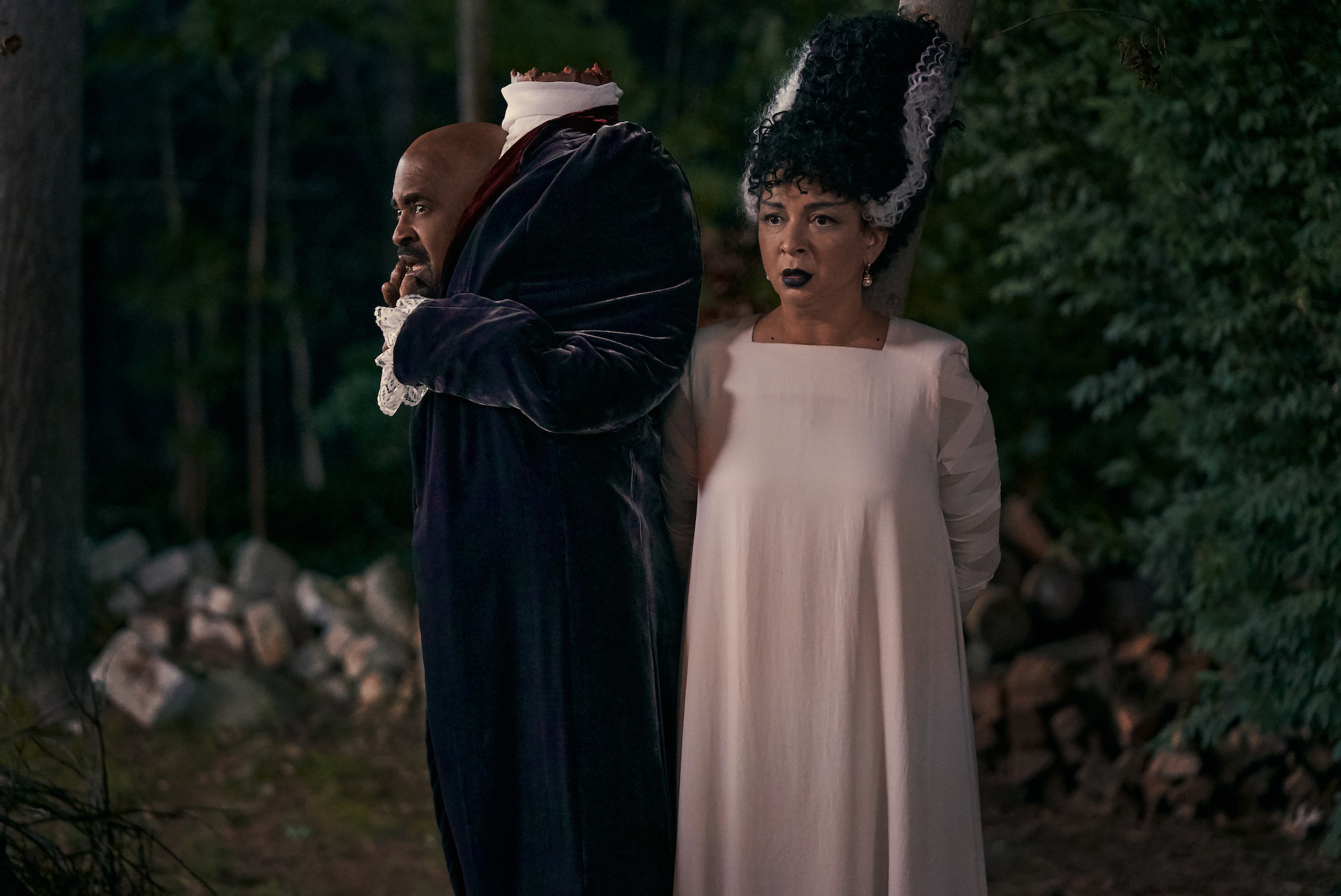 Tim Meadows and Maya Rudolph dressed as The Headless Horseman and The Bride of Frankenstein