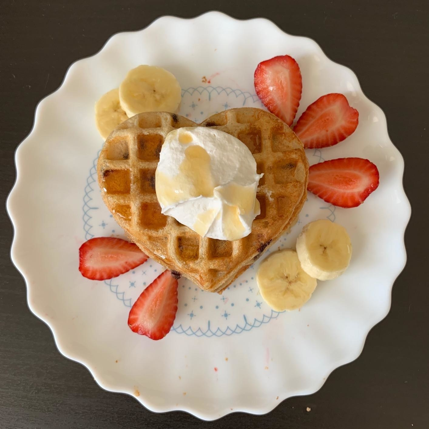 reviewer photo of the heart shaped waffle