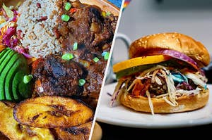 Split image of two meals: on the left is a plate of plantains with avocados mock meat and rice, and on the right is a burger with mixed veggies on a plate