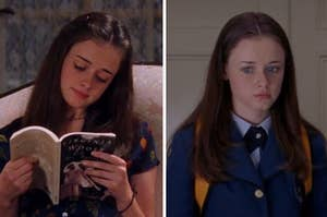 Rory reading a book on the left, and rory in her chilton uniform on the right