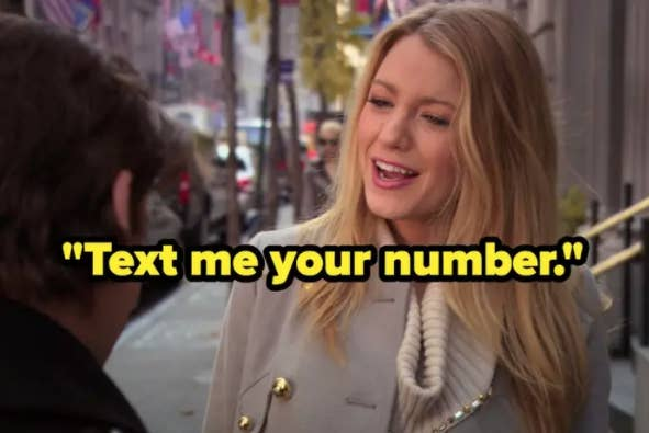 Serena telling Damian to text her his number.