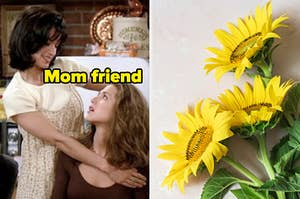 """One friend was holding another labeled, """"mom friend"""" with a bunch of sunflowers on the right"""