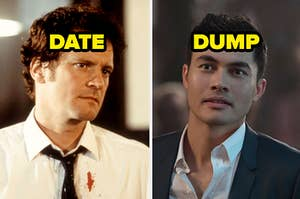Mark from Bridget Jones's Diary and the word date, and Nick from Crazy Rich Asians and the word dump