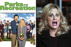 Parks and Recreation DVD cover next to Leslie screaming