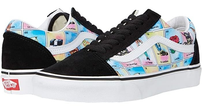 Vans Old Skool style sneakers with Loteria board print with black shoe laces